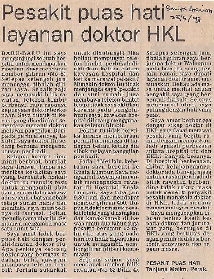 BH 25/05/1998 -surat penghargaan  saya kepada HKL