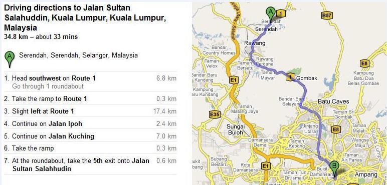 Direction dari Serendah ke JKR Bukit Perdana