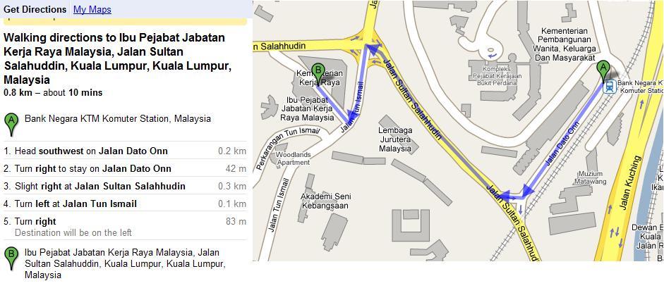 Berjalan kaki dari KTM Bank Negara ke JKR Jln Sultan Salahhuddin