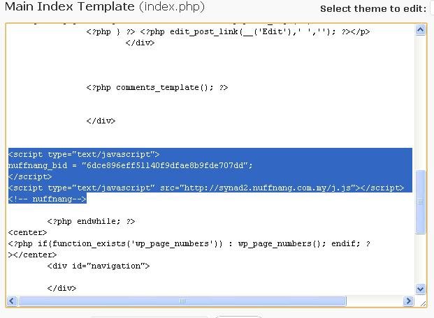 code nuffnang di  main index template