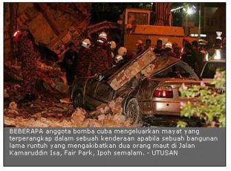 bangunan runtuh di Ipoh