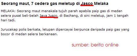 Letupan gas di Jusco Melaka