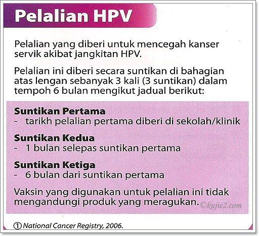 pelalian hpv untuk murid tingkatan 1