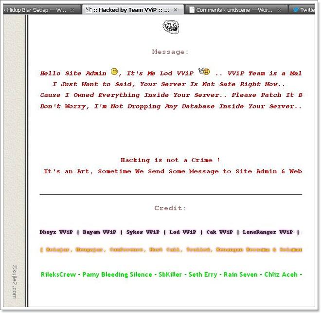 Kujie2.com Hacked by Team VVIP – Terimakasih