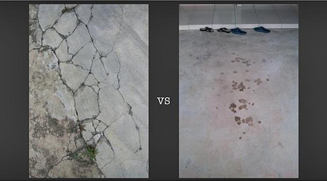 lantai tile pecah dan rosak
