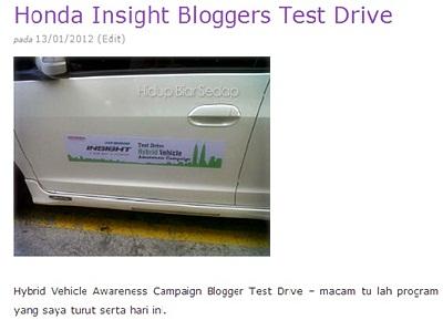 honda insigh blogger test drive