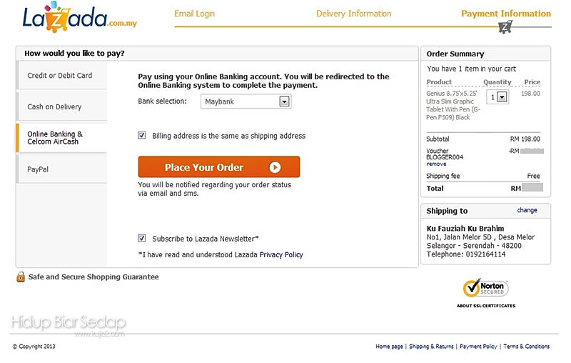 isi borang shopping online lazada