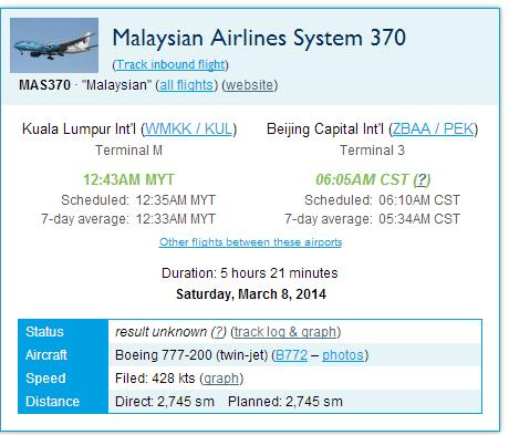 FLIGHT STATUS MH 370