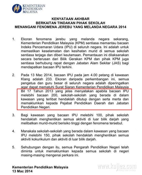 Pekeliling Kementerian Pendidikan Malaysia Mengenai Sekolah Yang Ditutup Kerana Jerebu
