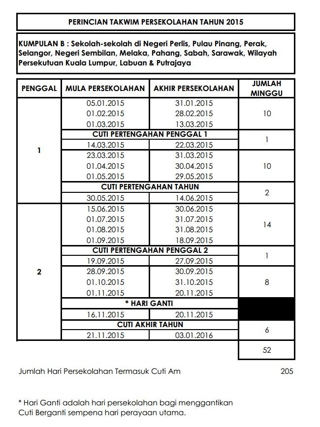jadual takwim sekolah2015