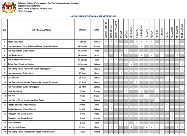 jadual cuti am negeri 2016